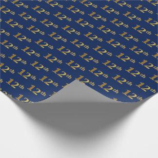 Papier Cadeau Bleu, événement d'or de Faux 12ème (douzième)
