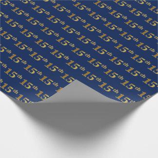 Papier Cadeau Bleu, événement d'or de Faux 15ème (quinzième)