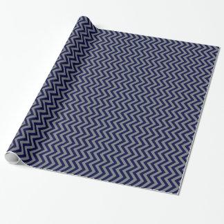 Papier Cadeau Bleu marine, grand motif de zigzag de Chevron de