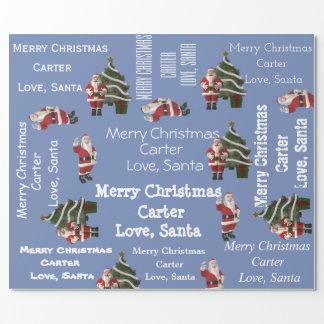 Papier Cadeau Bleu personnalisé de Noël de Père Noël