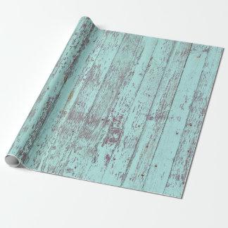 Papier Cadeau Bois rustique de grange d'Aqua