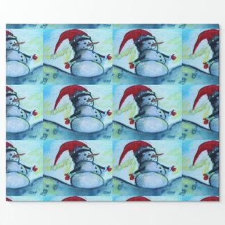 Papier Cadeau Bonhomme de neige de Père Noël