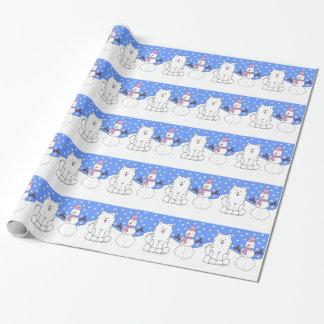 Papier Cadeau Bonhomme de neige du Samoyed N