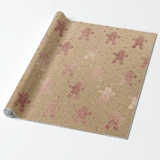 Papier Cadeau Bonhomme en pain d'épice rose Papier d'emballage