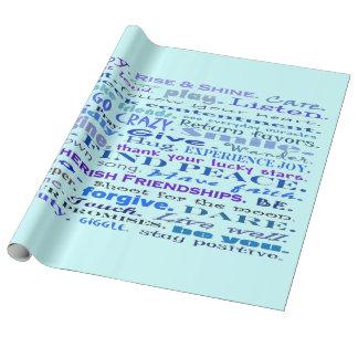 Papier Cadeau bonnes vibrations dans le bleu