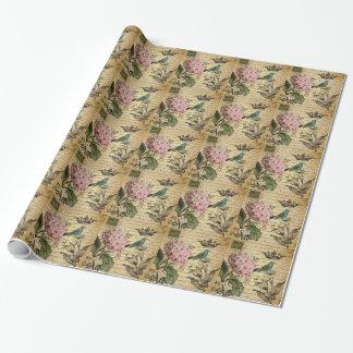 Papier Cadeau botanique français d'oiseau d'hortensia de