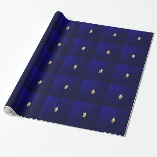 Papier Cadeau Bouddha d'or dans le bleu