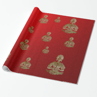 Papier Cadeau Bouddha en rouge