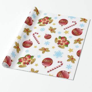 Papier Cadeau Boules rouges et d'or de Noël, houx de Noël