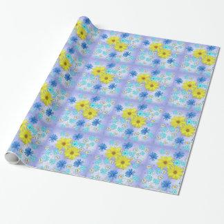 Papier Cadeau Bouquet de fleur de pays dans le bleu et le jaune