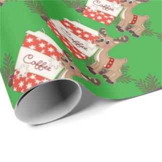 Papier Cadeau Café de Noël et papier d'emballage de renne