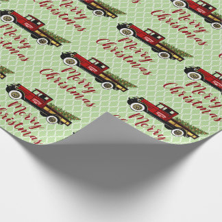 Papier Cadeau Camion vintage votre ferme d'arbre de Noël