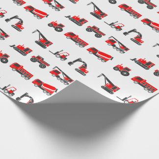 Papier Cadeau Camions de construction, noirs et rouges, grue,