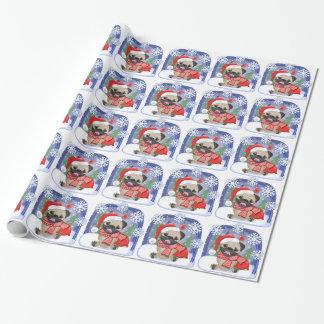 Papier Cadeau Carlin d'hiver de saison de Noël