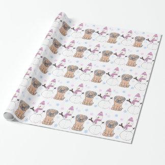 Papier Cadeau Carlin et bonhomme de neige