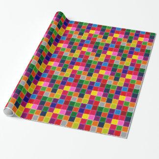 Papier Cadeau Carrés multi et rayures colorés Girly