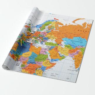 Papier Cadeau Carte colorée de voyage