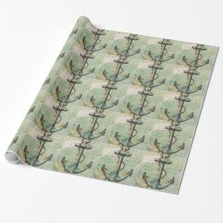 Papier Cadeau Carte nautique antique avec l'ancre