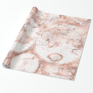 Papier Cadeau Carte rose du monde d'antiquité de parties