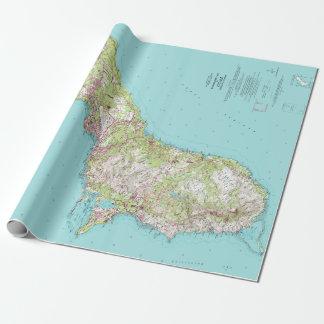 Papier Cadeau Carte topographique vintage de la Guam