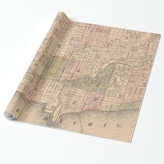 Papier Cadeau Carte vintage de Chicago l'Illinois (1876)