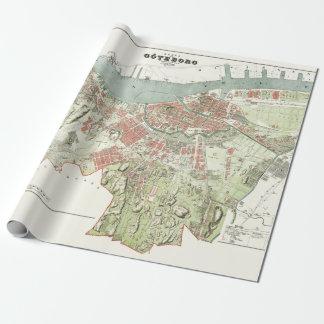 Papier Cadeau Carte vintage de Gothenburg, Suède