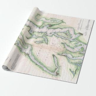 Papier Cadeau Carte vintage de Seattle et de Puget Sound