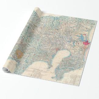 Papier Cadeau Carte vintage de Tokyo et de mont Fuji Japon
