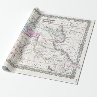 Papier Cadeau Carte vintage de Washington, de l'Orégon et de