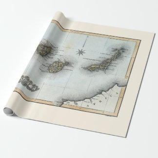 Papier Cadeau Carte vintage des Îles Canaries