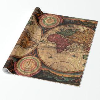 Papier Cadeau Carte vintage du monde (1730) - stylisé