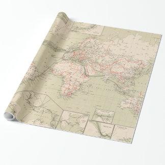 Papier Cadeau Carte vintage du monde (1898)