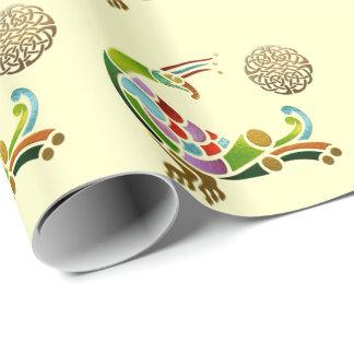 Papier Cadeau Celtic Deco de paon orné de bijoux