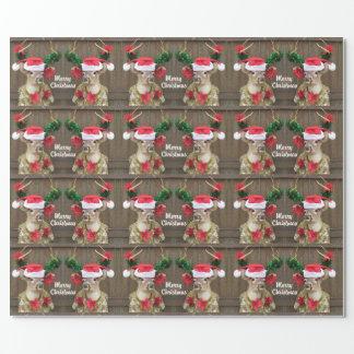 Papier Cadeau Cerf de Virginie drôle de mâle de Joyeux Noël