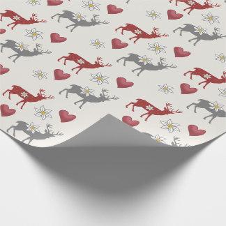 Papier Cadeau Cerfs communs d'edelweiss et papier d'emballage de
