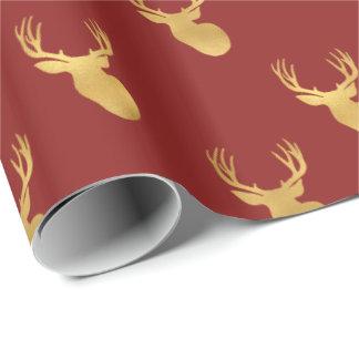 Papier Cadeau Cerfs communs rouges d'or