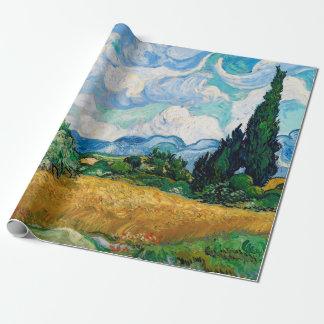 Papier Cadeau Champ de blé avec des cyprès par Vincent van Gogh