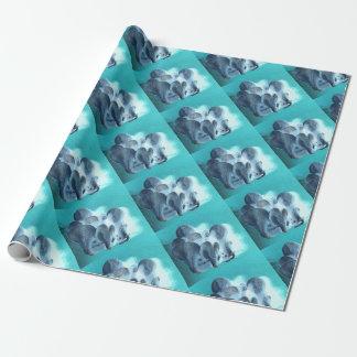 Papier Cadeau Champignons d'huître dans le bleu