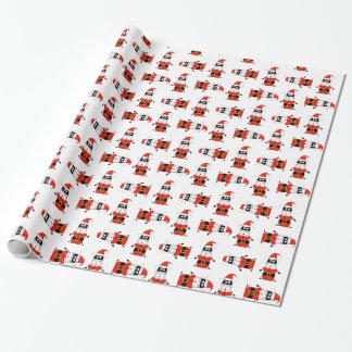 Papier Cadeau Chat de pattes de Père Noël habillé comme le père