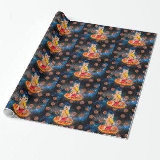 Papier Cadeau Chat de pizza - chat de l'espace - chat orange -