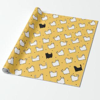 Papier Cadeau Chat noir de chats blancs de carton (toute