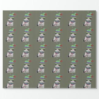 Papier Cadeau Chat tigré noir et blanc dans le casquette de