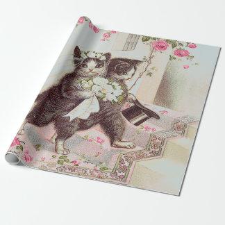 Papier Cadeau Chats de mariage bleu-clair