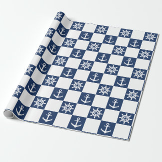 Papier Cadeau Checkered blanc bleu nautique