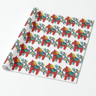 Papier Cadeau Cheval coloré de Dala de Suédois