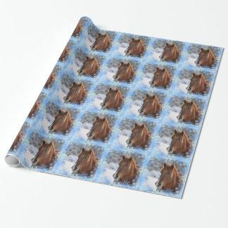 Papier Cadeau Cheval et flocons de neige