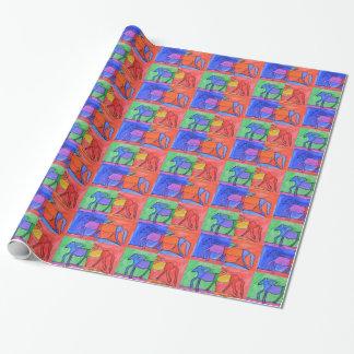 Papier Cadeau Chevaux caracolants colorés