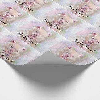 Papier Cadeau Chien de chien de traîneau d'aquarelle