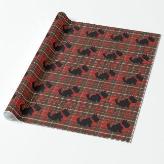 Papier Cadeau Chien mignon de Scotty et tartan rouge