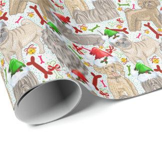 Papier Cadeau Chienchiens vintages adorables de Noël pour des